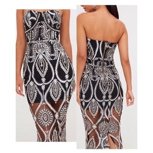 Embellished Midi Dress by Pretty Little Thing US 4